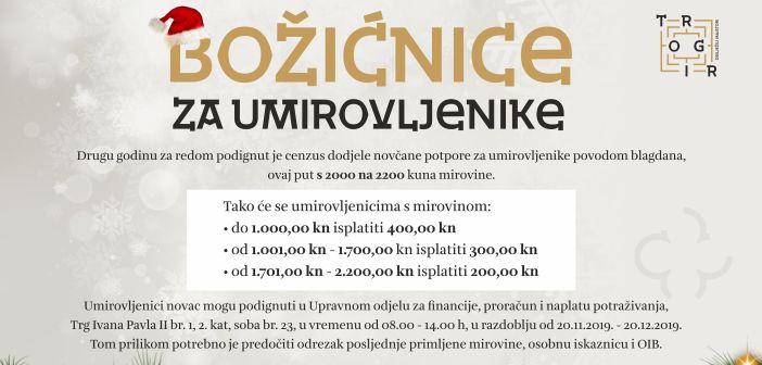 Grad Trogir povećao cenzus za dodjelu božićnica za umirovljenike