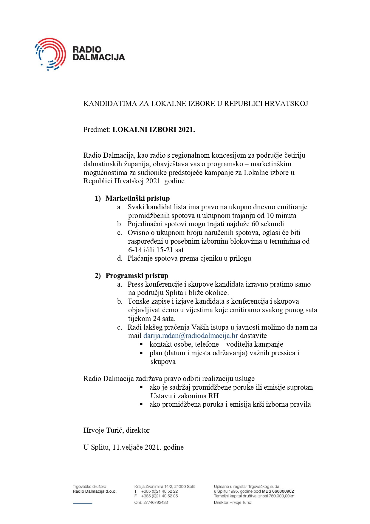 Dalmacija oglasi radio Radio dalmacija